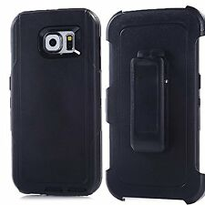 New Defender Outer Series Case w/Clip For Samsung Galaxy S6 Black
