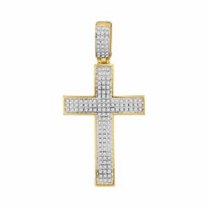 10k Gelbgold Herren Rund Diamant Charm Anhänger 3/8 Cttw