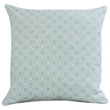 Scandi Geometric Ikat Cushion in Duck Egg Blue and White. Double Sided. 17x17""