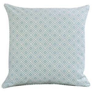 "Scandi Geometric Ikat Cushion in Duck Egg Blue and White. Double Sided. 17x17"""