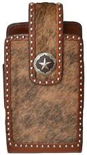 3D Western Vertical Large Smartphone Leather Cell Phone Case Concho Brown PH646