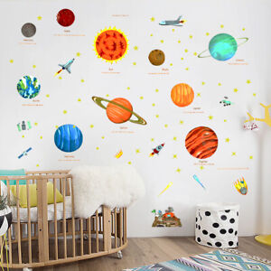 Wall Planets Sun Space Star Stickers Bedroom Solar System Decal Children Kids