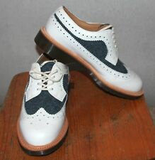 MIE 3989 Dr. Martens White Blue Brogue Woman Boots UK 5 Made In England