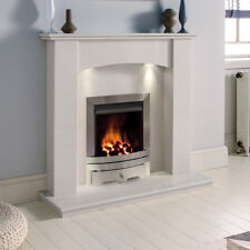 WHITE MARBLE STONE CURVED GAS SURROUND SILVER FIRE FIREPLACE SUITE DOWNLIGHTS
