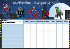 Kids Superhero reward chart + stickers + marker pen