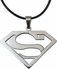 Stainless Steel Superhero Superman Pendant Necklace with leather chain