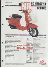 Genuine Honda ND50M Melody DeLuxe (1982>) Data Sheet Sales Brochure ND 50 M AB68