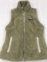 Patagonia Vest Womens Tan Los Gatos Fuzzy Fleece Deep Pile Small S Full Zip