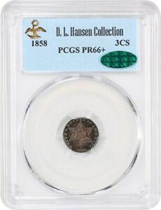 1858 3cS PCGS/CAC PR 66+ ex: D.L. Hansen - Beautiful Gem Trime - 3-Cent Silver
