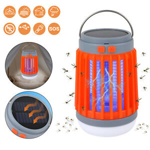 Solar Electronic Bug Zapper Outdoor Waterproof Mosquito Killer Fly Insect Trap