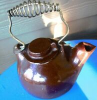 Vintage Cast Iron Kettle Wood Stove Steamer Brown Enamel Tea Pot Swing Handle