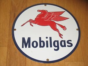 Mobil Gas 11.75in Porcelain Gas Advertising Sign Reproduction Vintage Petroliana