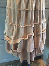 Faith Love Passion Cotton Beige Tan Mix Skirt Layer Boho Women Size S