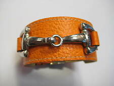 DIMACCI Alba Armband Orsini Orange mit Trensen-Gebiss in Edelstahl Leder NEU