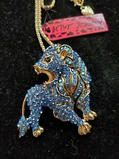 Betsey Johnson Blue crystal Lion necklace/ brooch