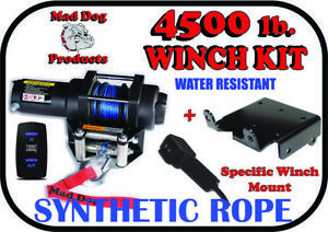 4500lb Mad Dog Synthetic Winch/Mount Kit for 2020-2022 Kawasaki Teryx KRX 1000