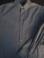 Banana Republic Mens Button Front Long Sleeve Cotton Gray Stripe Shirt Large L