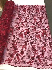 BURGUNDY 3D FLORAL WITH VINES AND PEARLS ON A MESH LACE-SOLD BY YARD. NEW DESIGN