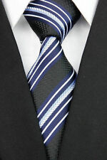 GIFTS FOR MEN Classic Mens Textured Stripe Silk Work Necktie Tie Black Navy Blue