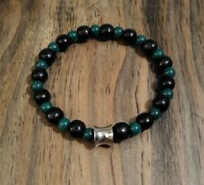 Men's Black Wood and Green Mountain Jade Gemstone Stretch Bracelet