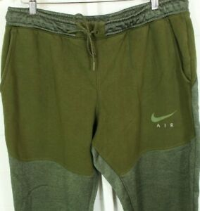 Nike Jogging Pants XL Green Cuffed TAPERED Jersey Fleece Casual Sports Active