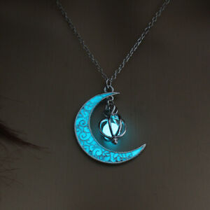 Moon Pendant Chain Jewelry Healing Natural Quartz Crystal Gemstone Glow Necklace
