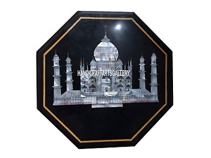 "12"" Black Marble Corner Side Coffee Table Top Tajmahal Outdoor Decor Inlay H3512"