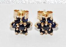 9ct Gold Blue Sapphire Ladies Cluster Stud Earrings -