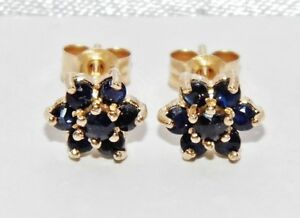 9ct Gold Blue Sapphire Ladies Daisy Cluster Stud Earrings -