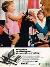 A- Publicité Advertising 1969 Magnetophone à cassette Mini K7 Philips