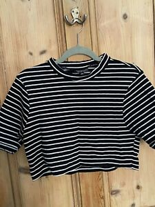 Topshop Cropped Stripe T-Shirt Black And White High Neck Polo Neck Size 16