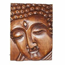 Wandbild Buddha Bild Holzbild Bild Buddhismus Relief Holzrelief Mönch Buddhabild