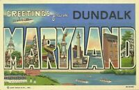 Greetings From Dundalk Maryland Large Letter Linen Postcard Curt Teich