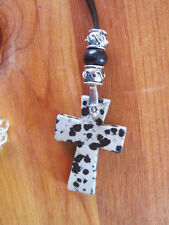 Black, lt gray Dalmation Jasper Stone Cross  black leather Necklace with beads