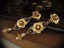 Vintage Matt Gold Rose & Pearl Long Drop Clip Earrings. Very Dolce & Gabbana