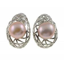 Women Light Purple Natural Pearl Earring Silver Birds Nest Ear Stud Jewelry