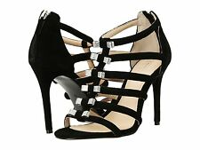 NIB COACH LAILA SZ 10  BLACK EVENING SUEDE SANDAL HEEL STRAPPY