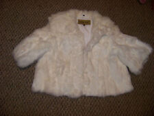 womens midnight velvet white fur ss crop coat size lg