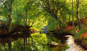 Dream-art Oil painting Peder Mørk Mønsted - Forest Stream nice summer view