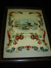 Framed: Die-Cut Embossed Winter Scene: Red Roses, Pansies and Windmill.  6602