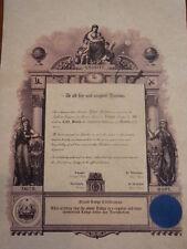 Personalized Masonic Master Mason Certificate ring art record Freemasons