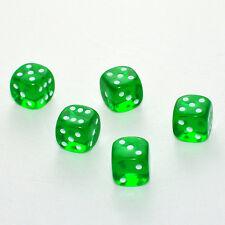 100 Stück 15mm Transparent Grün Knobel Würfel / Augen Würfel Frobis Spielwürfel
