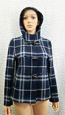 Gorgeous Rare Womens Burberry Nova Check Plaid Navy Blue Gray Jacket Coat Hood 6