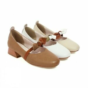 Womens Faux Leather Mary Janes Lolita Block Low Heels Buckle Square Toe Shoes D