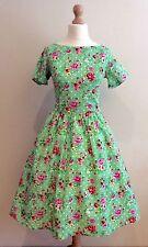 LADY VINTAGE LONDON GREEN FLORAL ELOISE DRESS SIZE 8 - 10 50's STYLE