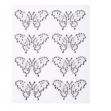 8x 40 25mm AB Transparent Papillon Marquis Perle Strass Adhésif