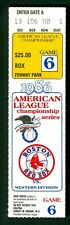 Boston Red Sox vs California Angels 1986 ALCS Game 6 Ticket Stub
