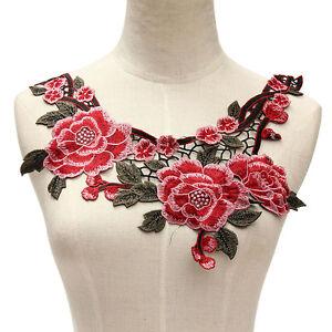 Elegant Rose Blumen Stickerei Patch Aufnäher Bügelbild Applikation Flicken Rot