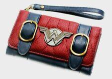 Wonder Woman Trifold Clutch Wristlet Wallet With Metal W Logo
