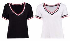 Unbranded Hip Length V Neck Basic T-Shirts for Women